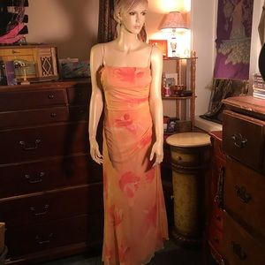 Laundry by Shelli Segal orange silk floral dress